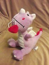 "ANIMAL ADVENTURE purple DRAGON Heart Plush Stuffed Animal 2015 8"" Valentines Day"