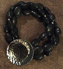 SILPADA B1511 Black Lava Bead Triple Strand Bracelet Sterling Silver EUC Toggle