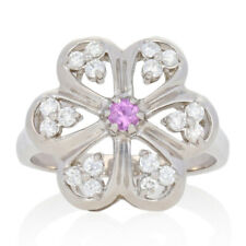 .51ctw Round Cut Pink Sapphire & Diamond Ring - 14k Gold Halo-Inspired Flower