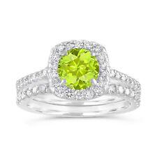 Peridot Engagement Ring Set, 1.86 Carat 14K White Gold Certified Halo Pave