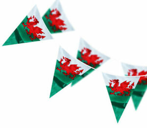 10 20 50 100 Metre Wales Cymru Welsh Rugby Triangle Flag Bunting SPEEDY DELIVERY