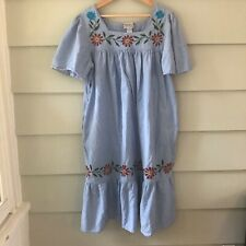 Vintage Saybury Muu Muu Muumuu Dress Large Chambray Embroidered Dress Large L