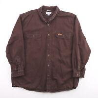 Vintage CARHARTT  Brown Logo Long Sleeve Heavy Shirt Mens 2XL