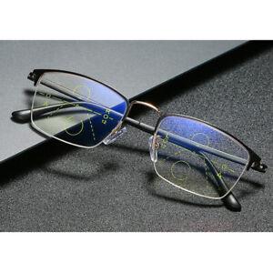 Anti Blue Progressive Multifocal Reading Glasses Half Frames +1.0 to +4.0 Gold