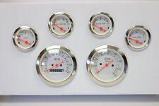 "Classic 6 Piece 3 3/8"" Gauge Kit Mechanical 0-140 Speedometer Tachometer Set SBC"