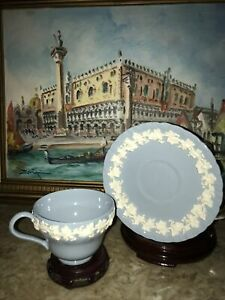 Wedgwood Embossed Queensware  Cup & Saucer Cream on  Shiny Blue