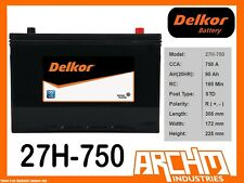 DELKOR BATTERY - CALCIUM 27H-750 - CCA 750 A 90 AH SAE LHP - MAINTENANCE FREE
