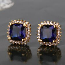 HUCHE 24k gold filled 'Forever Love' Black Sapphire Crystal Lady Earrings Studs