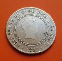 FERNANDO VII 10 REALES RESELLADOS 1821 SR MADRID moneda de PLATA KM.560 España