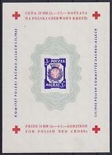 Polen Block III U (*) Dachau, ungezähnt mit Wz, Rotes Kreuz Red Cross 1945