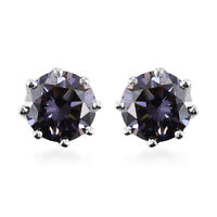 925 Sterling Silver Platinum Over Strontium Titanate Solitaire Earrings Ct 2.7