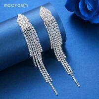 Mecresh Silver/Gold Crystal Long Tassel Earrings Bridal Wedding Jewelry for Girl
