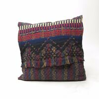 Vintage Fiber Art Woven Fringe Hippie Boho Multi Colored Throw Pillow