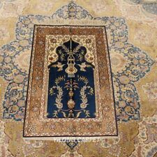 Yilong 2'x3' Oriental Handknotted Silk Area Rug Small Tapestry Carpet 419M