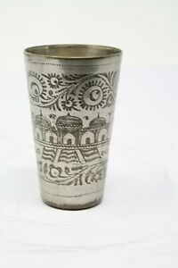 Old Brass Hand Carved Unique Milk / Lassi Big Size Glass, Rich Patina NH5828
