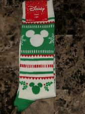 1 PAIR DISNEY CHRISTMAS MICKEY MOUSE UNISEX CREW SOCK. GREEN/RED/OFF WHITE.10-13