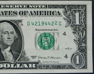 "2017 $1 (ONE DOLLAR) – NOTE, BILL - SERIAL NUMBER - HIGH ""2"" - ERROR"
