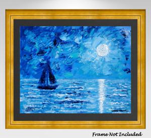Original Painting Seascape Sailboat Abstract Mid Century Modern Style Impasto