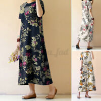 UK Women Maxi Floral Dress Summer Ladies Short Sleeve Long Flower Dress Oversize