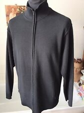 Marks & Spencer ~ black 50/50 wool/poly full zipper cardigan with pockets M 40""