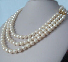 "Three-Strand natural 9-10mm akoya white pearl necklace 17""18""19"" 14K gold clasp"