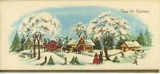 VINTAGE CHRISTMAS VILLAGE HOUSE SNOWMAN 1 BELGIAN HORSES PINE CONES WREATH CARD