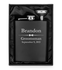 Engraved 7oz Flask Matte Black Funnel Gift Box PERSONALIZED Wedding Bow Tie