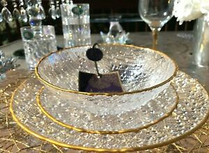 ARTISTIC ACCENTS Bubble Glass Gold Trim Clear Dinner Plates Made In Turkey
