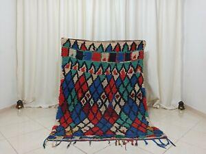 Boujaad Vintage Handmade Moroccan Rug 4'1''x6 Blue Checkered Wool Berber Carpet