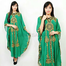 Green abaya Maxi Caftan Dress Moroccan evening wear Kaftans Gold Embroidery