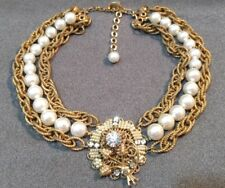 Vintage Signed Vendome Necklace Faux Pearls Gold Tone Chain & Clear Rhinestones
