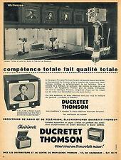 PUBLICITE ADVERTISING 114  1954  DUCRETET-THOMSON téléviseurs radio à STRASBOURG