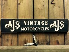 AJS Motorbike Sign plaque Vintage Old Look Car  Motorcycle Wooden Dad Gift