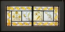 """MID SIZED OLD ENGLISH LEADED STAINED GLASS WINDOW HP Bird/Floral 23.25"""" x 11.5"""""""