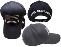 Black USA Thin Red Blue Line First Responders Matter Cap Hat Support Police Fire