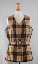 Vintage Women's Brown 1970s Tailored Brown Check Vest Size UK 14 16 EUR 42 44