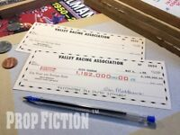 Back to the Future II - BTTF Pair of Movie Prop Biff Tannen Cheques / Checks