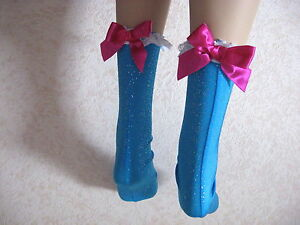 Festival Socks Sparkly short lace Blue Silver White Pink Party Fun Lolita Gift