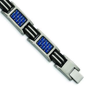 """Chisel Titanium Polished w/ Blue Carbon Fiber & Rubber Bracelet 8.5"""""""