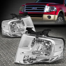 For 2007 2017 Ford Expedition Pair Chrome Housing Clear Side Headlight Lamp Set