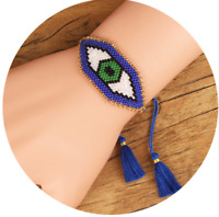 Evil Eye Bracelet MIYUKI Bracelets tassel Blue Seed Beads Adjustable Handmade