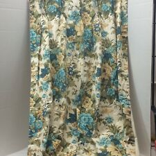 Pinch Pleated Mid Century Curtains Lined Drapes Aqua Floral Butterfly 4 Panels
