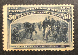 TDStamps: US Stamps Scott#240 50c Columbian Unused NG Tiny Thin Lightly Toned