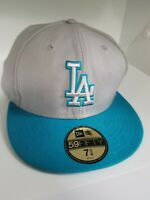 Los Angeles Dodgers Fitted Hat/Cap by New Era 59Fifty Adult Sz 7 3/8. Gray/Teal.