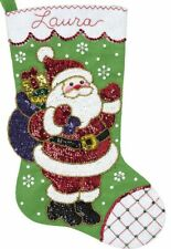 Bucilla Glitz Santa Sparkle Sequin Christmas Holiday Felt Stocking Kit 89073E