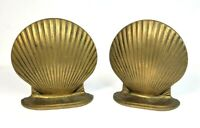Solid Brass Sea Shell Bookends Clam Scallop Ocean Heavy Set Of Two Vintage