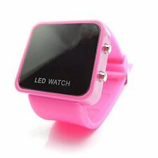 LED RETRO FASHION DIGITAL MENS/LADIES/GIRLS/BOYS JELLY WRIST WATCH Hot Pink