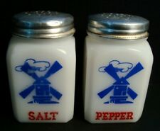 New listing vintage Salt + Pepper shakers - made in Usa - milk glass wind mill