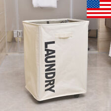 Portable Laundry Basket Dirty Clothes Toy Storage Bag Hamper with Wheel
