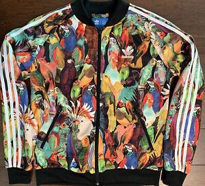 Adidas Womens L Parrot Bird X Farm Passaredo Trefoil Track Jacket Tropical Print
